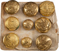 Militaria:Uniforms, George Armstrong Custer: A Group of Nine of his Military Uniform Buttons, Including One from his West Point Cadet's Uniform....
