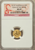Australia, 2013-P G$5 Year of the Snake MS69 NGC. ...