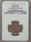 Half Cents, 1828 1/2 C 13 Stars -- Improperly Cleaned -- NGC Details. AU. NGCCensus: (24/643). PCGS Population (75/520). Mintage...