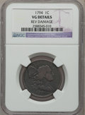 Large Cents: , 1794 1C Head of 1795 -- Reverse Damaged -- NGC Details. VG. NGCCensus: (15/410). PCGS Population (19/420). Mintage: 918,52...