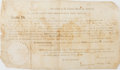 "Autographs:Statesmen, James Madison Signed Land Grant countersigned by James Monroe asSecretary of State. Single sheet of velum, 14.5"" x 8.5""..."
