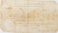 James Madison Signed Land Grant countersigned by James Monroe as Secretary of State. Single sheet of velum