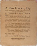 Books:Prints & Leaves, [Rhode Island]. Broadside Entitled, By His Excellency ArthurFenner, Esq. Providence: Carter and Wilkinson, ca. 1790...