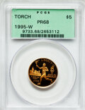 Modern Issues, 1995-W G$5 Olympic/Torch Runner Gold Five Dollar PR68 PCGS. PCGSPopulation (45/2594). NGC Census: (13/1772). Numismedia W...