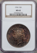 Peace Dollars: , 1924 $1 MS63 NGC. NGC Census: (10309/27339). PCGS Population(10715/16089). Mintage: 11,811,000. Numismedia Wsl. Price for ...