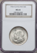 Commemorative Silver: , 1936 50C Cleveland MS65 NGC. NGC Census: (1941/559). PCGSPopulation (2151/706). Mintage: 50,030. Numismedia Wsl. Pricefor...