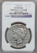 Peace Dollars: , 1928 $1 -- Improperly Cleaned -- NGC Details. VF. NGC Census:(9/6050). PCGS Population (10/8189). Mintage: 360,649. Numism...