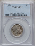 Buffalo Nickels: , 1918-D 5C VF35 PCGS. PCGS Population (23/766). NGC Census:(15/464). Mintage: 8,362,000. Numismedia Wsl. Price for problem ...