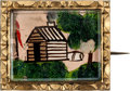 Political:Ferrotypes / Photo Badges (pre-1896), William Henry Harrison: Hand-Painted Log Cabin Brooch....