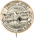 Political:Pinback Buttons (1896-present), James M. Cox: 1909 Wright Brothers Homecoming Button....