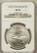 Modern Issues: , 1994-W $1 P.O.W. Silver Dollar MS70 NGC. NGC Census: (619). PCGSPopulation (401). Mintage: 54,790. Numismedia Wsl. Price f...
