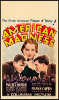 "Movie Posters:Drama, American Madness (Columbia, 1932). Midget Window Card (8"" X 14"")....."