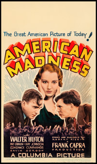 "American Madness (Columbia, 1932). Midget Window Card (8"" X 14"")"
