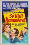 "Movie Posters:Drama, So Well Remembered (RKO, 1947). One Sheet (27"" X 41""), and Lobby Card Set of 8 (11"" X 14""). Drama.. ... (Total: 9 Items)"