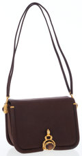 Luxury Accessories:Bags, Judith Leiber Brown Satin Shoulder Bag with Gold Hardware. ...