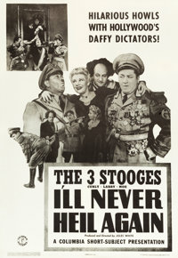 "The Three Stooges in I'll Never Heil Again (Columbia, 1941). One Sheet (27"" X 41"")"