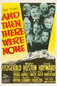 "And Then There Were None (20th Century Fox, 1945). One Sheet (27"" X 41"")"