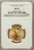 Modern Bullion Coins, 2010 $25 Half-Ounce Gold Eagle MS69 NGC. NGC Census: (4009/2482).PCGS Population (11/18). Numismedia Wsl. Price for probl...
