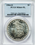 Morgan Dollars: , 1904-O $1 MS64+ Prooflike PCGS. PCGS Population (1120/503). NGCCensus: (964/451). Numismedia Wsl. Price for problem free ...