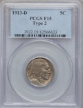 Buffalo Nickels: , 1913-D 5C Type Two Fine 15 PCGS. PCGS Population (46/1388). NGCCensus: (19/965). Mintage: 4,156,000. Numismedia Wsl. Price...