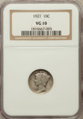 Mercury Dimes: , 1921 10C VG10 NGC. NGC Census: (30/361). PCGS Population (74/576).Mintage: 1,230,000. Numismedia Wsl. Price for problem fr...