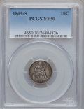 Seated Dimes: , 1869-S 10C VF30 PCGS. PCGS Population (2/56). NGC Census: (1/45).Mintage: 450,000. Numismedia Wsl. Price for problem free ...