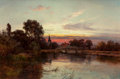 Paintings, ALFRED DE BREANSKI (British, 1852-1928). Shades of Evening, Nuneham on the Thames, 1886-87. Oil on canvas. 24 x 36 inche...