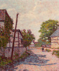 Fine Art - Painting, European:Other , WYNFORD DEWHURST (British, 1864-1941). Rural Village Scene.Oil on canvas. 21-1/2 x 18 inches (54.6 x 45.7 cm). Signed l...