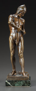 Sculpture, A PATINATED BRONZE FIGURE OF A GLADIATOR, AFTER FERDINAND LUGERTH. (Austrian, 1885-1915), 20th century. Marks: F. Lugerth,...
