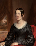 American:Portrait & Genre, AMERICAN SCHOOL (19th Century). Portrait of a Woman. Oil onpanel. 34 x 27 inches (86.4 x 68.6 cm). ...