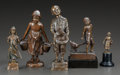 Bronze:European, FIVE GERMAN PATINATED BRONZE FIGURINES. 20th century. Marks:various marks. 7-1/2 inches high (19.1 cm). ... (Total: 5 Items)