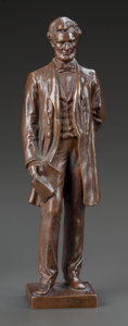 Bronze:American, A GEORGE BISSELL PATINATED BRONZE FIGURE OF ABRAHAM LINCOLN BY THEGORHAM FOUNDRY. Late 19th century. Marks: GEO E BISSELL...