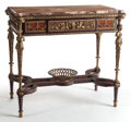 Furniture , A CHARLES X GILT BRONZE MOUNTED MARBLE TOP CENTER TABLE. Mid-19th century. 30-1/2 x 34 x 19-1/2 inches (77.5 x 86.4 x 49.5 c...