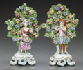 Ceramics & Porcelain, British:Antique  (Pre 1900), A PAIR OF CHELSEA-STYLE ENGLISH PORCELAIN BOCAGE FIGURAL GROUPS . Circa 1780. Marks: (gold anchor), 4. 10-1/4 inches hig... (Total: 2 Items)