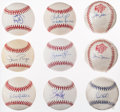 Baseball Collectibles:Balls, 1990's New York Yankees Outfielders Single Signed Baseballs Lot of9....