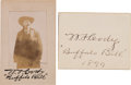 """Autographs:Celebrities, """"Buffalo Bill"""" Cody: A Real-photo Souvenir Card with FacsimileSignature, and an 1899-Dated Autograph Card. ... (Total: 2 Items)"""