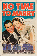 """Movie Posters:Comedy, No Time to Marry (Columbia, 1938). One Sheet (27"""" X 41""""). Comedy....."""
