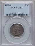Washington Quarters: , 1932-S 25C AU55 PCGS. PCGS Population (412/3358). NGC Census:(288/2317). Mintage: 408,000. Numismedia Wsl. Price for probl...