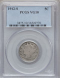 Liberty Nickels: , 1912-S 5C VG10 PCGS. PCGS Population (244/1359). NGC Census:(114/780). Mintage: 238,000. Numismedia Wsl. Price for problem...