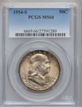 Franklin Half Dollars: , 1954-S 50C MS66 PCGS. PCGS Population (201/1). NGC Census: (389/8).Mintage: 4,993,400. Numismedia Wsl. Price for problem f...