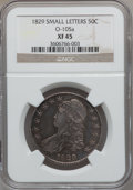Bust Half Dollars, 1829 50C Small Letters XF45 NGC. O-105a. NGC Census: (149/819).PCGS Population (231/838). Mintage: 3,712,156. Numismedia ...