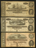 Confederate Notes:1864 Issues, T67-T69 Trio 1864.. ... (Total: 3 notes)