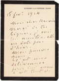 Other:European, A LETTER FROM FRENCH PAINTER, CLAUDE MONET (1840-1926) TO RENOIR.THE RENOIR COLLECTION. ... (Total: 2 Items)