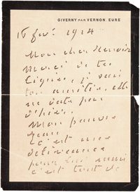 A LETTER FROM FRENCH PAINTER, CLAUDE MONET (1840-1926) TO RENOIR  THE RENOIR COLLECTION