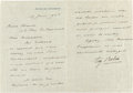 Other:European, A LETTER FROM FRENCH SCULPTOR, AUGUSTE RODIN (1840-1917) TO RENOIR.THE RENOIR COLLECTION. ...