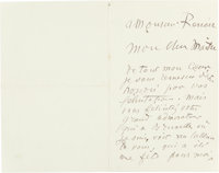 A LETTER FROM FRENCH SCULPTOR, AUGUSTE RODIN (1840-1917) TO RENOIR, TOGETHER WITH RODIN'S CALLING CARD  THE REN