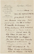 Other:European, A LETTER FROM THE SECRETARY OF THE BEAUX-ARTS TO RENOIR. THE RENOIRCOLLECTION. ... (Total: 2 Items)