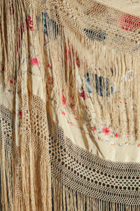 ALINE RENOIR'S POLYCHROME SILK EMBROIDERED SHAWL  THE RENOIR COLLECTION