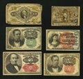 Fractional Currency:Group Lots, Six Different Fractional Types. Very Good or better.. ... (Total: 6 notes)
