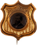 Political:Ferrotypes / Photo Badges (pre-1896), James A. Garfield: Ferrotype Shield Badge....